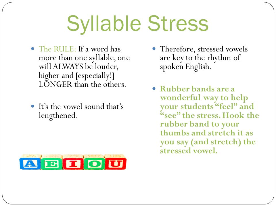 Syllable Stress The RULE: If a word has more than one syllable, one will ALWAYS be louder, higher and [especially!] LONGER than the others.